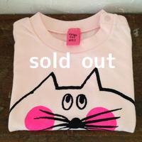 ▲送料無料 90サイズ/半そで ねこもぐらさんTシャツ 6.2oz uyoga cat mole ベビーピンク ほっぺあり 559番目のねこもぐらさん