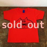 ▲送料無料 100サイズ/半そで ねこもぐらさんTシャツB 5.6oz uyoga cat mole  ディープオレンジ ほっぺあり 588番目のねこもぐらさん