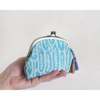 vintage生地のがま口財布・小物入れ BLUE
