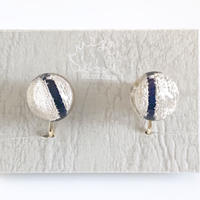 """Non hole  Earring  _ Line <Navy>"
