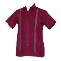 ピンタックキューバシャツ(半袖グアヤベラシャツ) ワインレッド