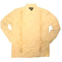 ピンタックキューバシャツ(長袖グアヤベラシャツ) オープンカラー / 開襟 シャツ ベージュ