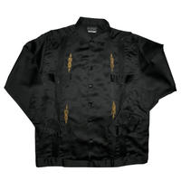 メキシカンシルクキューバシャツ(長袖グアヤベラシャツ) オープンカラー / 開襟 シャツ ブラック