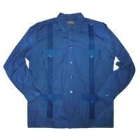 ピンタックキューバシャツ(長袖グアヤベラシャツ) オープンカラー / 開襟 シャツ ネイビー