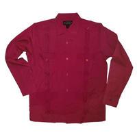 ピンタックキューバシャツ(長袖グアヤベラシャツ) オープンカラー / 開襟 シャツ ワインレッド
