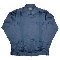 メキシカンシルクキューバシャツ(長袖グアヤベラシャツ) オープンカラー / 開襟 シャツ ネイビー メンズ