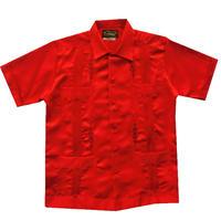 メキシカンシルクキューバシャツ(半袖グアヤベラシャツ) オープンカラー / 開襟 シャツ レッド