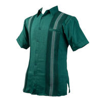 ピンタックキューバシャツ(半袖グアヤベラシャツ) グリーン