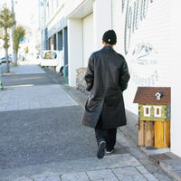 O-, LEATHER WIND COAT / BLACK, SizeL