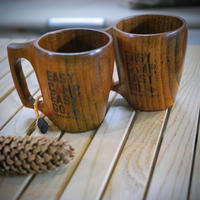 "OUTPUT LIFE × &NUT WOODEN COFFEE MUG ""EASY CAMP EASY GO"""
