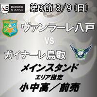 2020年8月9日(日)J3第9節 ヴァンラーレ八戸vsガイナーレ鳥取 メインスタンドエリア指定 小中高/前売