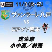 2020年11月3日(火・祝)J3第25節 ヴァンラーレ八戸vsロアッソ熊本 芝生席 小中高/前売