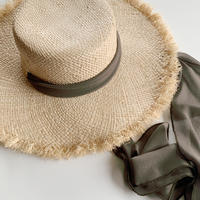 ribbon raffia hat[khaki]