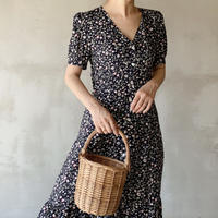 【即納】flower print dress[navy]