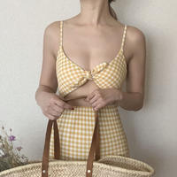 gingham bust ribbon op swim[yellow]