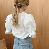ribbon sleeve linen blouse[white]