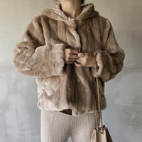 mink touch fur jacket[brown]