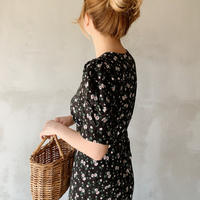 retro flower one-piece[black]