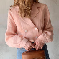 【即納】double button linen blouse[pink]
