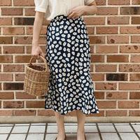 retro flower skirt[blue]