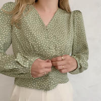 flower print blouse[green]