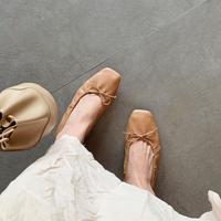 square shirring ballet shoes
