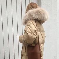 【即納】fur foody goose down long coat[beige]