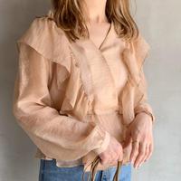 【即納】sheer frill blouse[beige]