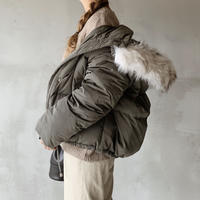 【即納】fur foody goose down short jacket[khaki]