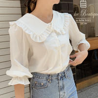 frill sailor collar blouse[white]