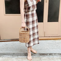linen check skirt[brown]