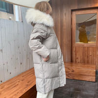 fur hoody goose down long coat[gray]