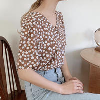 【即納】retro flower blouse[brown]