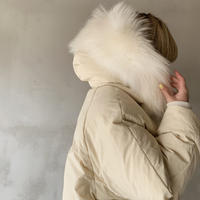 raccoon fur hoody down jacket[ivory]