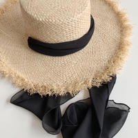 【即納】ribbon raffia hat[black]