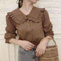 【即納】frill sailor collar blouse[brown]