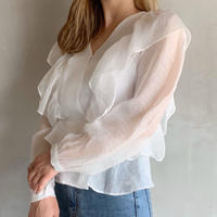 sheer frill blouse[white]