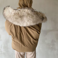 raccoon fur hoody down jacket[brown]
