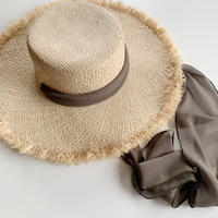 【即納】ribbon raffia hat[khaki]