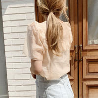 【即納】frill see-through blouse[peach]