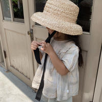 kids / ribbon straw hat[black]