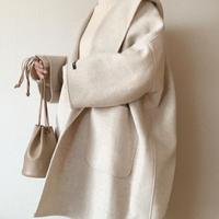 【即納】handmade wool volume coat[check]