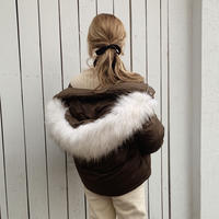 fur foody goose down short jacket[brown]