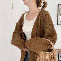 long knit cardigan[brown]