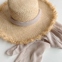 ribbon raffia hat[gray beige]