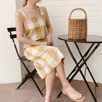 linen check skirt[yellow]