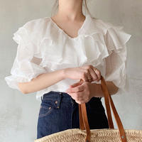 frill puff sleeve blouse[white]