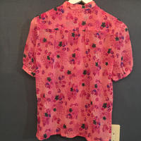 半袖ブラウス  ピンク花柄