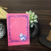 ポストカード セキセイインコと花 2018for花蓮 HANDandHEART
