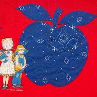 #430 レトロな青い林檎のホリーホビー生地厚地
